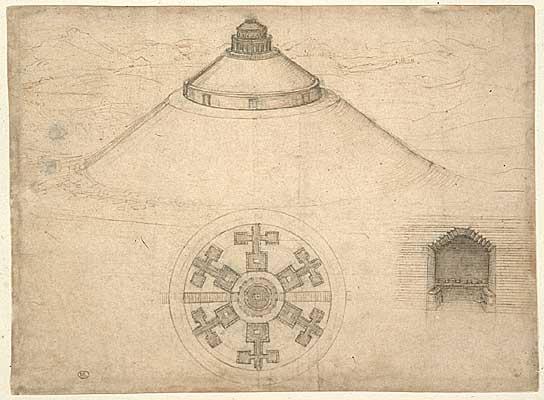 Architecture Dessin : Leonard de vinci dessins et manuscrits
